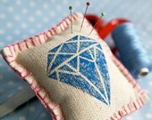 Blue Diamond hand-printed linen pincushion - sewing gift, sewing accessory