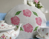 Rose hand-printed linen tea cosy - pink, floral, tea party, garden party, English - Corydora