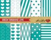 DIGITAL PAPER Pack Green Background Turquoise Patterns Kit Green Valentines Digital Paper valentines graphics teal background