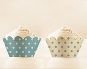 Printable CUPCAKE Wrappers Retro Baby Blue cupcake apron Polka Dot baby shower cupcake holder blue party favor
