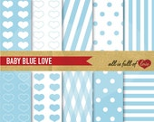 Valentines paper kit DIGITAL PAPER Pack Baby Blue LOVE with heart patterns polka dots and candy stripes Backgrounds Valentines