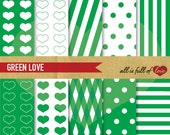 DIGITAL Graphics GREEN Digital Paper Pack Scrapbook Background Pattern St patricks paper green polka dots stripes hearts gift wrapping paper