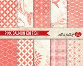 CORAL Pink Digital Background Patterns JAPANESE Scrapbook Paper Pack Valentines Digital Paper Koi Fish