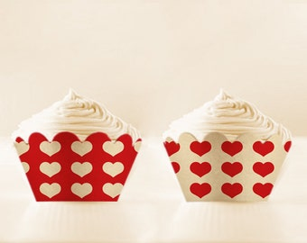 Printable Cupcake Wrappers Red Retro Love DIY Mothers Day printable valentines cupcake liner