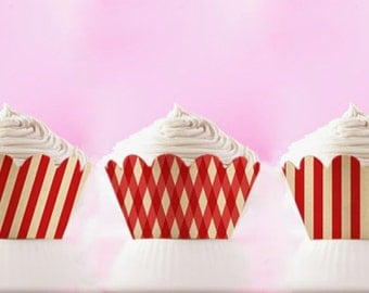 Printable Cupcake Wrappers Red Stripes Wraps DIY Liners Retro Cupcake Holder July 4 Party Decor Birthday Party INSTANT DOWNLOAD