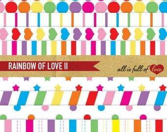 Rainbow Paper Pack DIGITAL SCRAPBOOKING Patterns Digital Download Rainbow Stars Rainbow stripes polka dots Multicolored Hearts