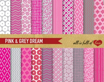 Hand draw Paper Pink and Grey digital papers, commercial use, scrapbook background Mother's day crafts cardstock printable