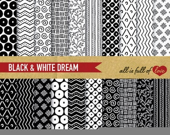 Digital Paper BLACK and WHITE Patterns Printable Cardstock Paper Pack Hand draw Instant Download