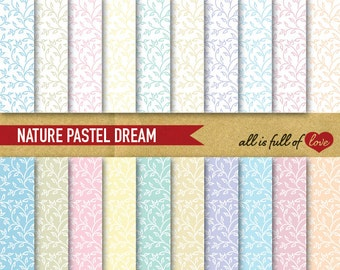 Hand Draw Pattern Leafs Digital Backgrounds PASTEL Scrapbooking Paper Pack Floral Background digital supplies