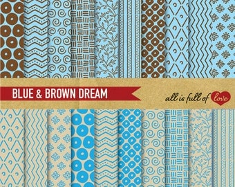 Hand draw paper Scrapbook BLUE BROWN Paper Pack Digital Background hand draw chevron pattern digital graphics crafts supplies