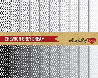 CHEVRON Paper Grey digital paper pack GREY Background Patterns Black White chevron pattern zig zag digital graphics grey scrapbooking paper