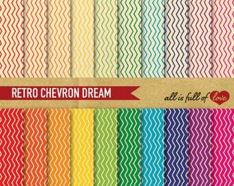 CHEVRON Digital Paper Pack RETRO Backgrounds to Print Rainbow Patterns Vintage Backdrop Chevron Hand draw Graphics  Zig Zag