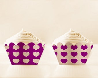 Purple Printable Cupcake Wrappers DIY Aubergine birthday cupcake holder Heart cupcake wrap