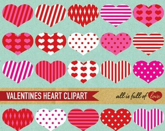 Pink Red CLIP ART HEART Digital Collage Sheet valentines clipart heart embellishment red digital graphics valentines card diy candy stripe