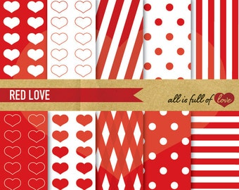 Red Background Patterns Heart DIGITAL Scrapbook PAPER Pack Red Stripes Clipart valentines paper Valentines sheets Valentines pattern