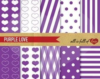 Valentines Paper Purple Clipart Background DIGITAL Heart Patterns Polka Dots SCRAPBOOKING PAPER Pack sweet 16 Patterns Graphics