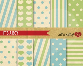 Digital Scrapbook Background Green Blue Paper Set Boy Patterns Digital Download Mother's day Paper