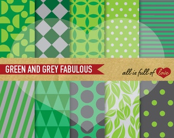 Geometric DIGITAL Paper Pack GREEN and GREY Printable Scrapbooking Backgrounds