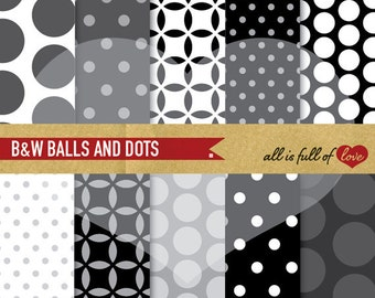 Black White Paper Polka Dots Digital Paper Pack Background Sheets geschenkpapier Fathers Day Papers silver polka dots digital graphics grey