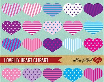 Pink Heart Clip Art Valentines Collage Sheet Love clip art scrapbook digital creative memories shabby chic clip art