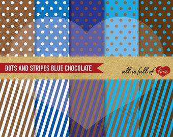 Digital Scrapbooking Paper Pack Blue and Brown POLKA DOTS & STRIPES Printable backgrounds Set Instant Download