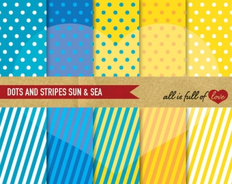 Blue & Yellow Digital Paper Pack POLKA DOTS and STRIPES Background printable Summer Scrapbooking Pattern Birthday Supplies Instant Download