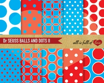 Dr SEUSS Scrapbook Digital Paper Pack Red Blue Polka Dots Background Printable Paper birthday wrapping paper set digital graphics