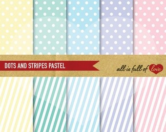 DOTS STRIPES Paper Digital Scrapbook Paper Pastel Printable Backgrounds Set wedding digital paper pack polka dots printable patterns