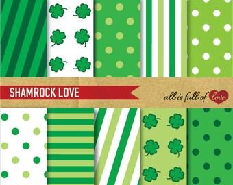 St Patricks Digital Paper Pack SHAMROCK Digital Background GREEN Printable paper St Paddy's graphics Irish digital paper Green clover