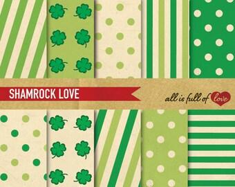 SHAMROCK Paper Digital Background St Paddy's Patterns Clover Scrapbook 12/15