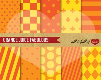 Orange Digital Scrapbooking Paper Pack ORANGE Printable Pattern Chess Background Striped Pattern Orange Yellow Dots Digital Graphics