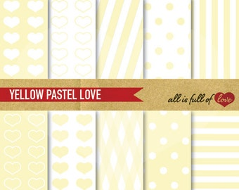 DIGITAL Scrapbooking PAPER Pack Yellow patterns polka dots stripes Digital Download Valentines papers 12/15