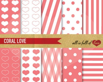 DIGITAL PAPER Pack CORAL heart patterns polka dots and candy stripes Instant Download Valentines Paper wrapping paper pink sweet 16