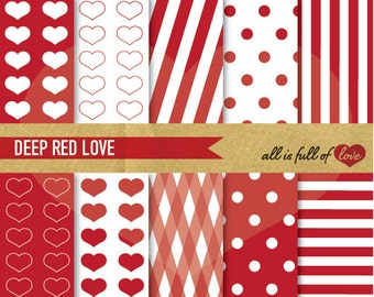 Red Background Patterns Polka Dots Printable Clipart Stripes DIGITAL PAPER Valentines Graphics Mothers Day Card valentines day 01/16