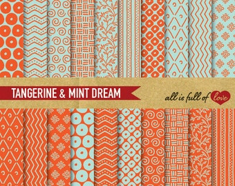 Hand draw papers Scrapbooking Digital Paper Pack Tangerine Mint Paper Printable Background Sheets Orange Aqua Green chevron Pattern
