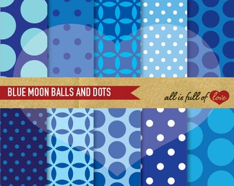 Blue DIGITAL GRAPHICS Navy Blue Scrapbook Paper Pack BLUE Balls Polka Dot Background to Print Pale Blue Scrapbooking Pattern