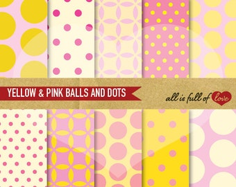 Digital Paper Pack Scrapbooking YELLOW & PINK Balls and Polka Dots Background Printable with Instant Download