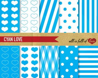Blue Scrapbooking DIGITAL PAPER Pack Polka Dots Clipart Valentines Paper