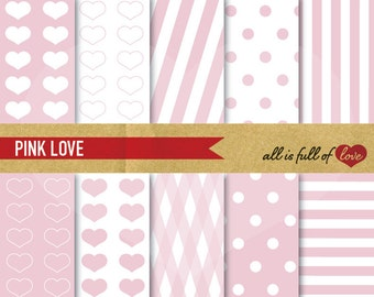 Valentines PINK PAPER Pack Digital Backgrounds Polka Dots Patterns Hearts Pink Valentines Paper Sweet 16 Graphics Mothers Day Crafts