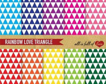 TRIANGLE Patterns Digital Scrapbooking Paper RAINBOW Printable Background geometric wrapping paper triangular graphics digital sheets