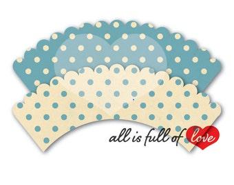EASTER DIY Printable CUPCAKE Wrappers Vintage Polka Dots Baby Blue Digital Download