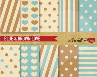 Background Brown Blue DIGITAL Clipart PAPER Kit Geometric Patterns Printable