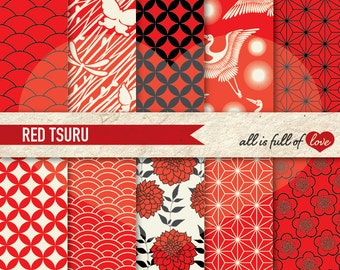JAPANESE Digital Paper Pack Tsuru RED & BLACK Printable Scrapbook Background Patterns Instant Download Chinese New Year Paper