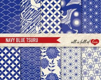 Blue Digital Paper Oriental Scrapbook Paper JAPAN Digital Paper Pack TZURU Digital Clipart japanese patterns butterfly collage sheet