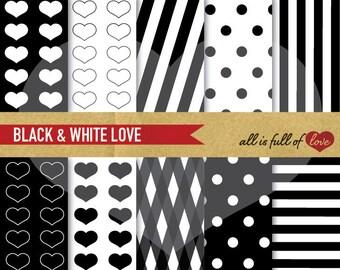 Digital Paper Pack BLACK & WHITE black heart patterns polka dots stripes Scrapbooking Backgrounds Valentine Paper digital background
