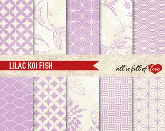 JAPAN Backgrounds Violet Scrapbooking Digital Paper Pack Floral Printable Patterns japanese clipart kit Koi Fish