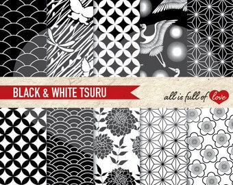 BLACK and WHITE Background Patterns JAPANESE Digital Scrapbook Collage Sheet Chinese New Year Paper