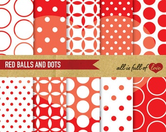 Digital Scrapbooking Paper Pack RED Balls Polka Dot Background Printable valentines wrapping paper spots red collage sheet digital graphics