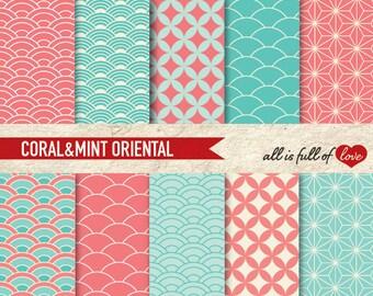 Digital Graphics CORAL & MINT Japan Geometrical Patterns to Print Valentines Paper