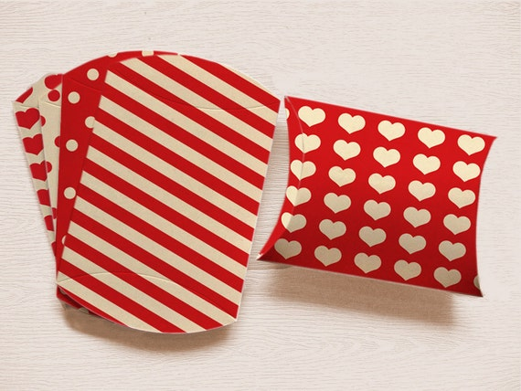 Valentines Printable Pillow Box RED Set of 5 with polka dots stripes and hearts INSTANT Download